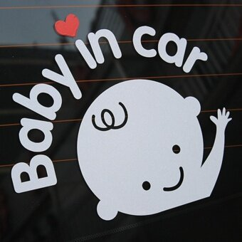 "Harga ""Baby In Car"" Waving Baby on Board Safety Sign Cute Car Decal /Vinyl Sticker 16*13cm - intl"