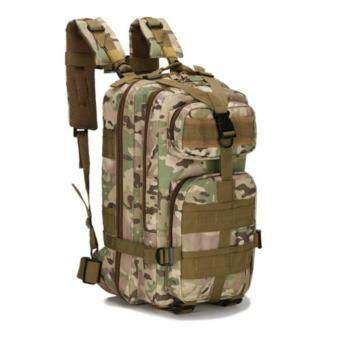Backpack Outdoor กระเป๋าเป้เดินป่า เป้สะพายหลังกระเป๋าเป้ขี่มอเตอร์ไซด์ 3P Backpack Bag 25L สีเขียวลายพราง