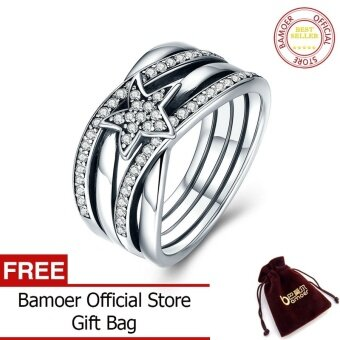 BAMOER 925 Sterling Silver Star Twisted Statement Ring For Women Engagement S925 Silver Jewelry SCR050 - intl
