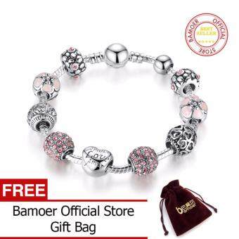 BAMOER Antique Silver Charm 20CM Bracelet & Bangle with Love and Flower Crystal Ball Women Wedding Valentine's Day Gift PA1455