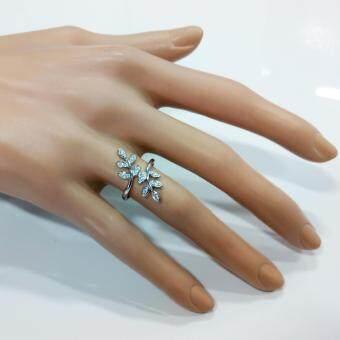 Beauty Jewelry เครื่องประดับผู้หญิง แหวนเพชรใบมะกอก ใบแห่งความสำเร็จ เงินแท้ 92.5 sterling silver ประดับเพชรสวิส CZ รุ่น RS2085-RR เคลือบทองคำขาว - 2