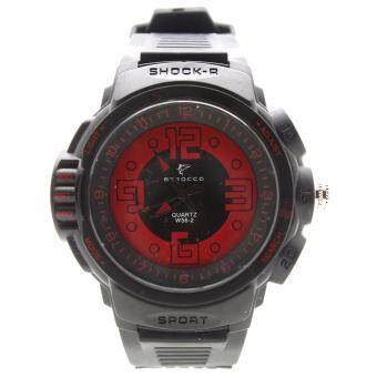 BEROCCO นาฬิกาข้อมือผู้ชายและผู้หญิงสไตล์สปอร์ต สายยางทรงสปอร์ต ระบบ เข็ม BRC 004 Black RED2Black
