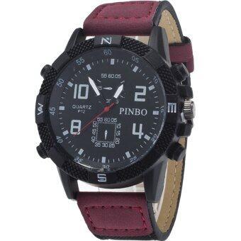 ขาย BEST นาฬิกาข้อมือชาย Men Watch Military Watch Textile Red StrapBlack Dial