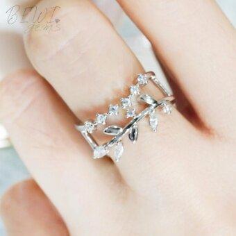 BEWI-G แหวนผู้หญิง สไตล์ แหวนเสริมดวง Ring ลวดลายใบมะกอกแหวนเสริมดวงเรื่องความรัก ชุบทองคำขาว ฝังเพชร CZ ฟรีไซส์ปรับขนาดแหวนได้ รุ่น BG-R0039 สีเงิน (Silver) - 3