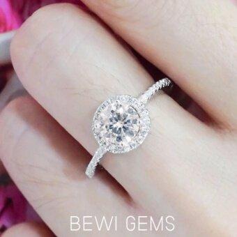 BEWI-G แหวนผู้หญิง สไตล์ แหวนเพชรเม็ดเดี่ยว Ring ชุบทองคำขาวฝังเพชร CZ เม็ดเดี่ยว พร้อมเพชรเม็ดเล็กรอบวง หรูหรา สไตล์แหวนหมั้นรุ่น BG-R0042 สีเงิน (Silver)
