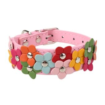 Big Family:Pet Dog Puppy Flower Harness Adjustable Leather PU Collar Buckle Neck Strap - intl