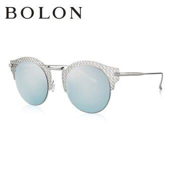 BOLON แว่นกันแดดสำหรับผู้หญิง กรอบทรงตาแมวสีเงิน เลนส์สีเทาน้ำเงินBL8006
