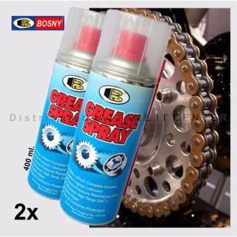 ประกาศขาย Bosny จารบีขาว สเปรย์หล่อลื่นโซ่ บอสนี่ Grease Spray 400ml (2กระป๋อง)