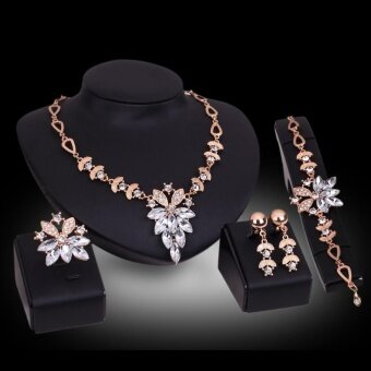 Bridal Wedding Jewelry Set Crystal Rhinestone Charm Necklace & Earrings & pendant & Bracelet Party - intl