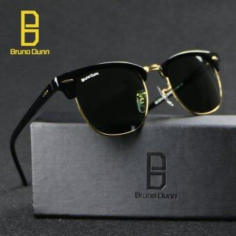Bruno Dunn Luxury Metal Men Women Retro Brand Designer Sunglasses Fashion Sun Glasses Female Round Vintage Sunglases 3016 (Black Frame Dark Green Lens) - intl