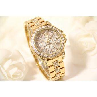Bs Women Dress Watches Rhinestone Gold Watch Wristwatches Best Gifts For Friends - intl