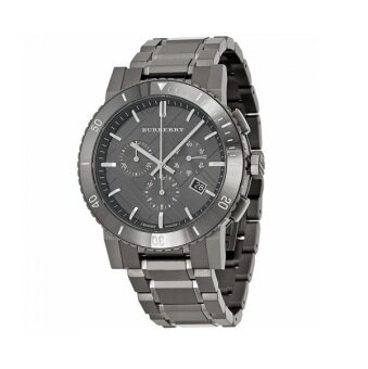 Harga Burberry Chronograph Gunmetal Dial Grey Ion-plated Mens WatchBU9381