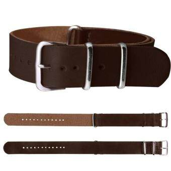 Harga BUYINCOINS 18mm/20mm/22mm Leather Wrist Watch Band Strap MensStainless Steel Pin Buckle Dark Brown-22mm - Intl