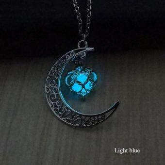 BUYINCOINS Crescent Moon Heart Glow in the Dark Necklace Charming Jewelry Luminous Chain Dark Blue - intl - 2