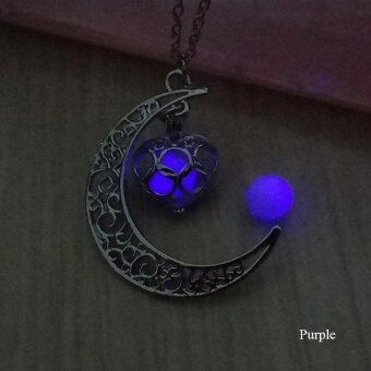 BUYINCOINS Crescent Moon Heart Glow in the Dark Necklace Charming Jewelry Luminous Chain Dark Blue - intl - 4