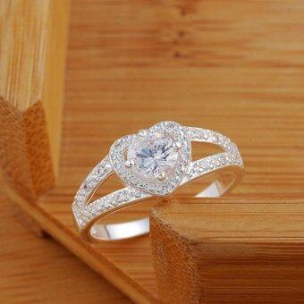 BUYINCOINS Fashion 925 Sterling Silver Wedding Rhinestone CrystalHeart Ring Jewelry Size7 - intl