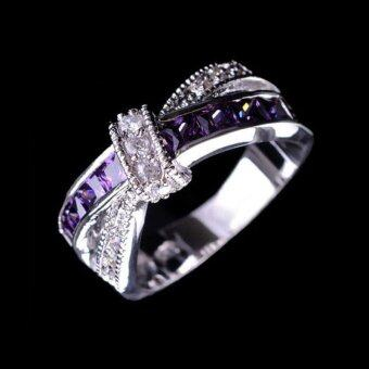 BUYINCOINS Hot Purple Amethyst Crystal & CZ Criss Cross Ring Band White Filled Jewelry Size8 - intl
