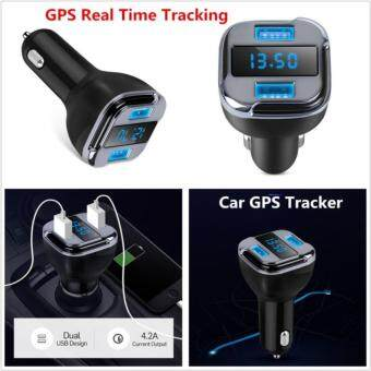 จีพีเอส แทรคเกอร์ Car GPS Tracker Locator Real Time Tracking Device Dual USB Car Charger Voltmeter