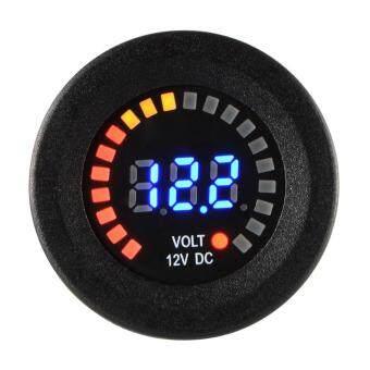 Car Motorcycle Waterproof Blue LED Digital Panel Display VoltmeterVoltage Volt Meter Gauge Black DC 12V - 3
