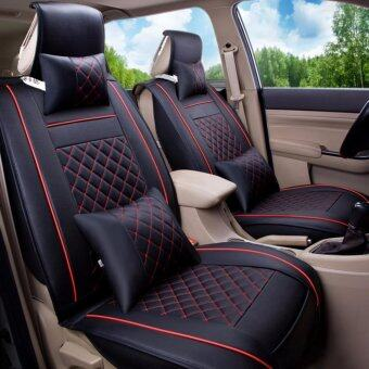 Car Seat Covers Set PU Leather,Universal Auto Seat 5 Covers Full Set Bucket Anti-Slip,Black and Red Size L - intl