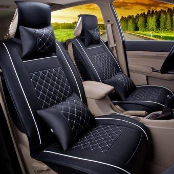 Car Seat Covers Set PU Leather,Universal Auto Seat 5 Covers Full Set Bucket Anti-Slip,Black and White Size S - intl
