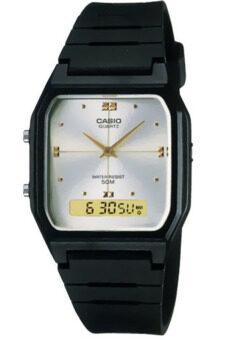 2561 Casio นาฬิกาข้อมือ สายเรซิ่น รุ่น AW-48HE-7AVDF-Black