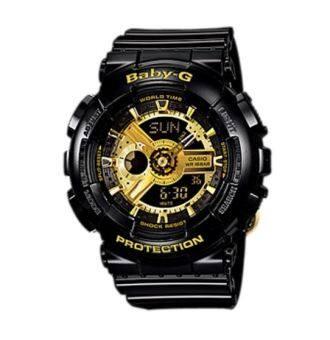Casio Baby-G นาฬิกาผู้หญิง สีดำ/ทอง สายเรซิ่น รุ่น BA-110-1ADR