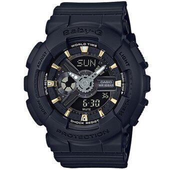 Casio Baby-G นาฬิกาข้อมือผู้หญิง สายเรซิ่น รุ่น BA-110GA-1A - สีดำ
