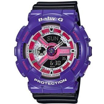 Casio Baby-G นาฬิกาข้อมือผู้หญิง สายเรซิ่น รุ่น BA-110NC-6A - สีม่วง/ดำ