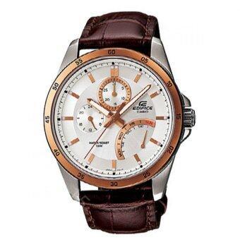 ประเทศไทย Casio นาฬิกา EF-341L-7A Leather Strap - Brown