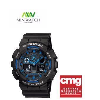 Casio G-Shock นาฬิกาข้อมือผู้ชาย สีดำ สายเรซิ่น รุ่น GA-100-1A2ประกันศูนย์CMG