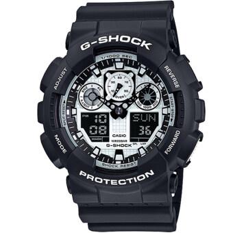 ประเทศไทย Casio G-Shock นาฬิกาข้อมือผู้ชาย สีขาว/ดำ สายเรซิ่น รุ่น GA-100BW-1A