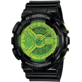 Casio G-SHOCK นาฬิกาข้อมือผู้ชาย สีดำ/เขียว สายเรซิน รุ่น GA-110B-1A3DR