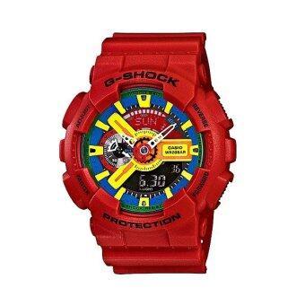 ราคา Casio G-SHOCK นาฬิกาข้อมือผู้ชาย สีแดง สายเรซิ่น รุ่น GA-110FC-1ADR