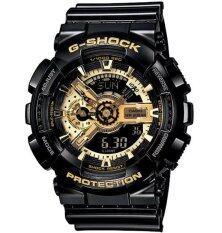 Casio G-Shock นาฬิกาข้อมือผู้ชาย สีดำ/สีทอง สายเรซิ่น รุ่น GA-110GB-1ADR