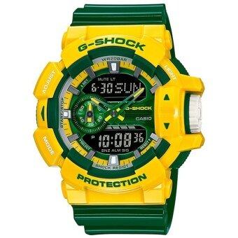 Casio G Shock นาฬิกาข้อมือสุภาพบุรุษ สายเรซิน รุ่น GA 400CS 9ADR สีเหลืองเขียว
