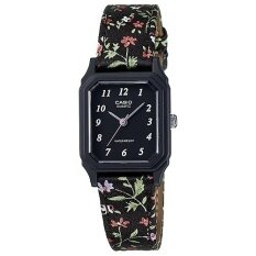 Casio นาฬิกาข้อมือผู้หญิง สีดำดอกไม้ สายผ้า รุ่น LQ-142LB-1B (Black)