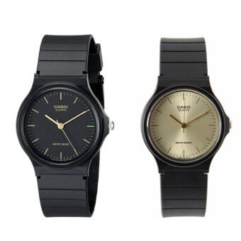Casio นาฬิกาข้อมือผู้ชาย สีดำ สายเรซิ่น รุ่น MQ-24-1E และ MQ-24-9E แพ็คคู่