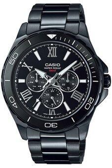 ประเทศไทย Casio นาฬิกาข้อมือผู้ชาย สายสเตนเลสสตีล รุ่น MTD-1075BK-1A1VDF-Black