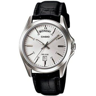 ราคา Casio นาฬิกาข้อมือ MTP-1370L-7AVDF (ฺBlack white)