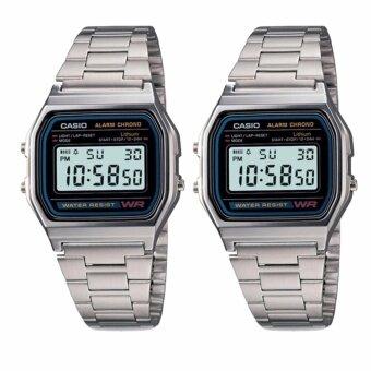 Casio Standard นาฬิกาข้อมือผู้หญิง สีเงิน สายสเตนเลส รุ่น A158WA-1DF (แพ็คคู่)