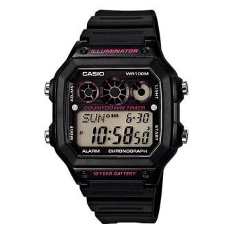 Casio Standard นาฬิกาข้อมือผู้ชาย สีดำ สายเรซิ่น รุ่น AE-1300WH-1A2VDF)