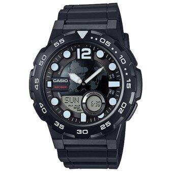 Casio Standard นาฬิกาข้อมือผู้ชาย สีดำ สายเรซิ่น รุ่น AEQ-100W-1AVDF
