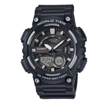 Casio Standard นาฬิกาข้อมือผู้ชาย สีดำ สายเรซิ่น รุ่นAEQ-110W-1AVDF