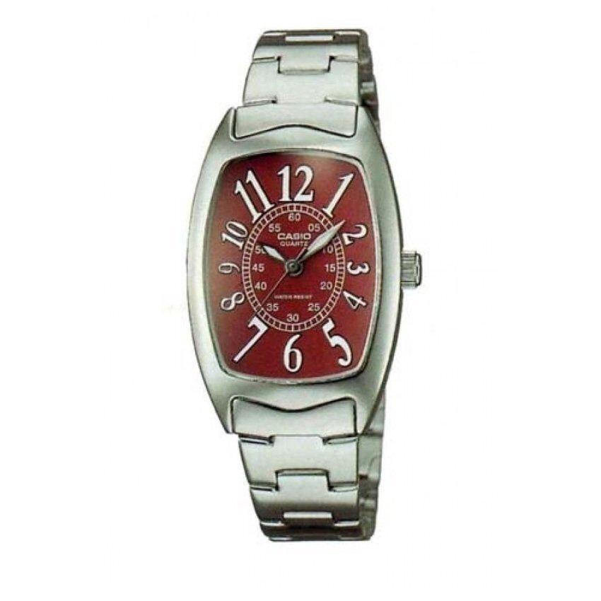 Casio Standard นาฬิกาข้อมือผู้หญิง สีเงิน/แดง สายสแตนเลส รุ่น LTP-1208D-4BDF มีจำนวนจำกัด