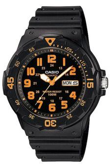 Casio Standard นาฬิกาข้อมือผู้ชาย สายเรซิ่น รุ่น MRW-200H-4BVDF - สีดำ/ส้ม