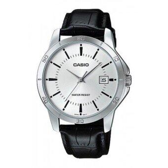 Casio Standard นาฬิกาข้อมือผู้ชาย สีดำ สายหนัง รุ่น MTP-V004L-7AUDF