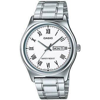 Casio Standard นาฬิกาข้อมือสุภาพบุรุษ สายสแตนเลส รุ่น MTP-V006D-7BUDF (สีขาว)