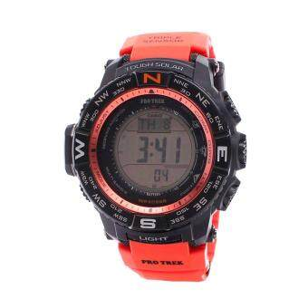 Casio Watch Pro Trek Tough Solar Red Resin Case Resin Strap Mens NWT + Warranty PRW-3500Y-4D