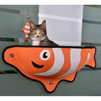 เปรียบเทียบราคา Cat Accessories ที่นอนแมวแบบติดกระจก ลายปลาการ์ตูน (สีส้ม)